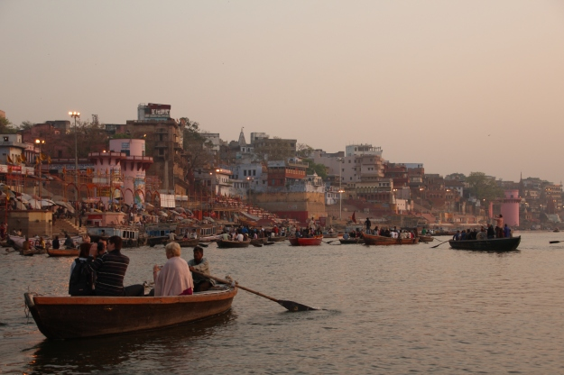Tourist boats floating down the Ganges River, Varanasi, India