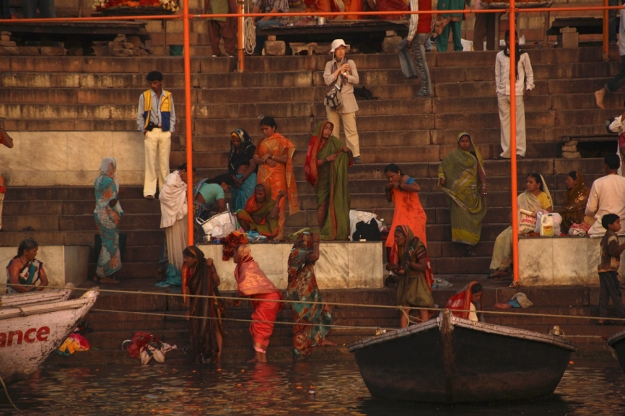 Spiritual bathing on the steps of the Ganges River, Varanasi, India
