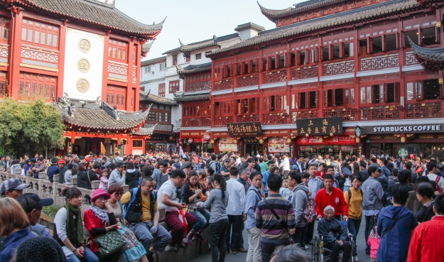 A crowded Market in Shanghai, China