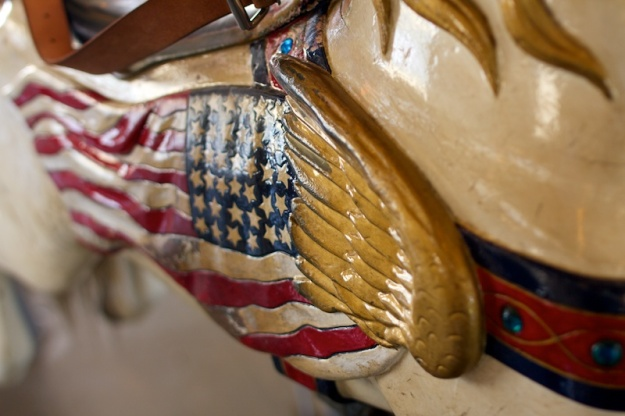 Close up of the body of a carousel horse
